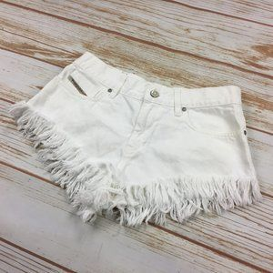 Diesel White Mid Rise Jean Shorts